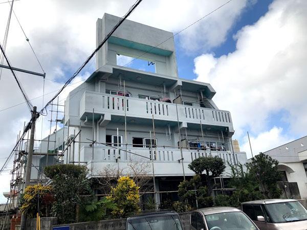 那覇市Oアパート様の足場工事1