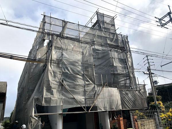 那覇市Oアパート様の足場工事4