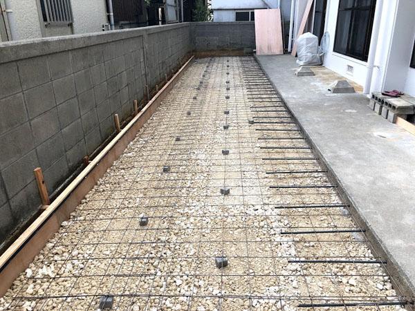 糸満市T邸の鉄筋、ワイヤーメッシュ補強完了。