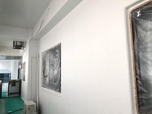 沖縄県那覇市Nアパート様のベース色、壁面・軒裏の中塗り、上塗り完了。