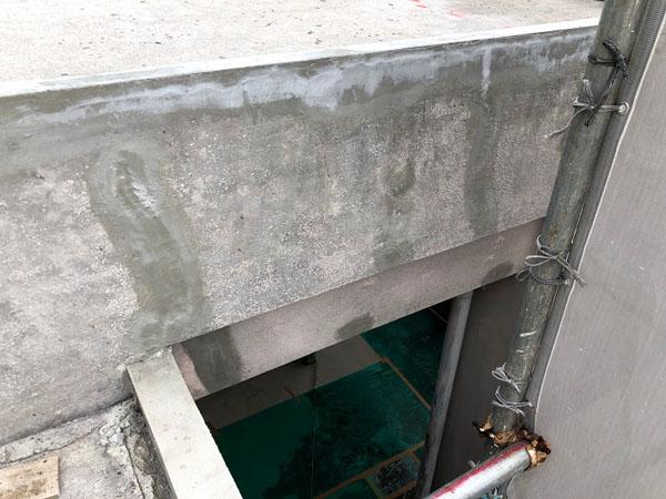 沖縄県那覇市O邸の壁面ひび割れ部ポリマーセメント左官仕上げ。