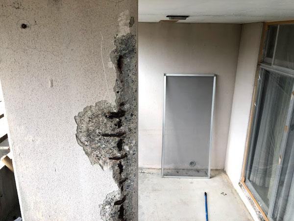沖縄県那覇市O邸のコンクリート剝離部ハツリ