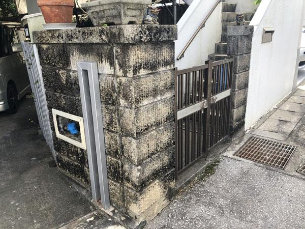 沖縄県八重瀬町T様の高圧水洗浄前。