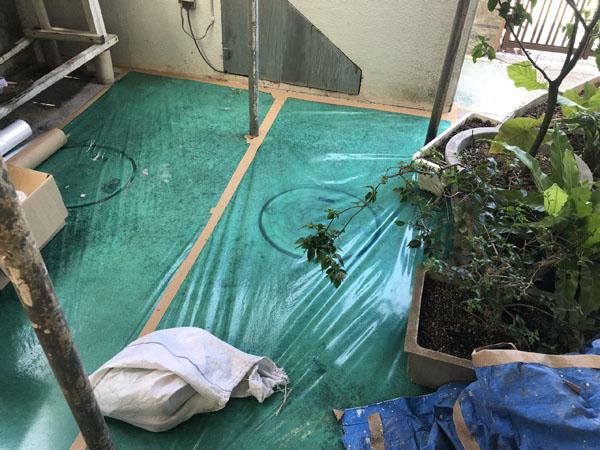 沖縄県八重瀬町T様のビニール養生完了。