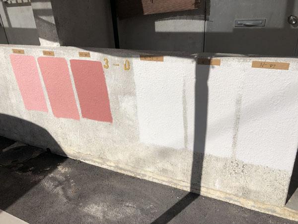 沖縄県浦添市Gアパート様のペンキ色の試し塗り。