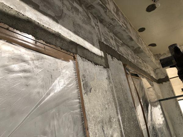 沖縄県宜野湾市S邸の庇ハツリ箇所、モルタル埋め戻し。