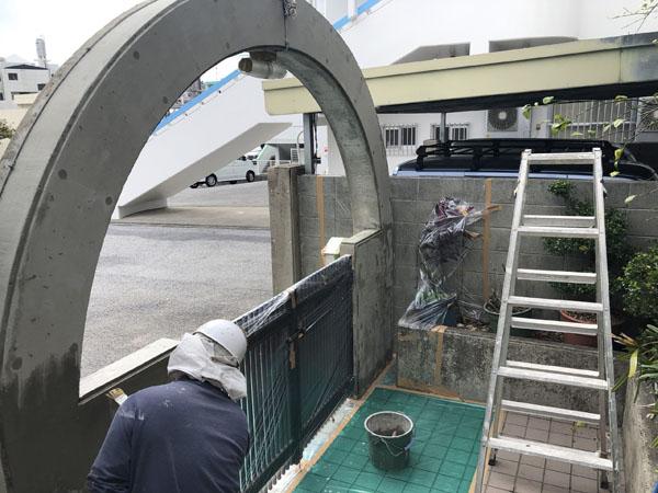 沖縄県那覇市K邸のカチオンセメントにて左官仕上げ。