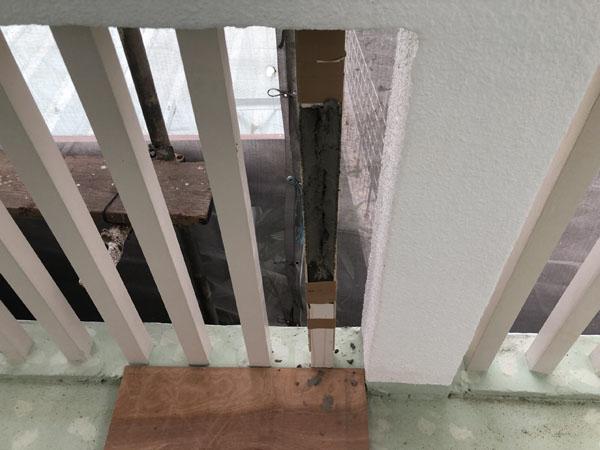 沖縄県那覇市G邸のコンクリートハツリ後、仮枠、モルタル埋め戻し等。