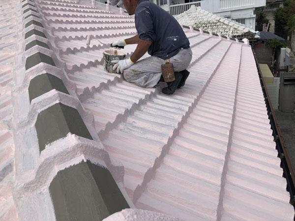 沖縄県那覇市M邸の防水塗装2日目塗布。