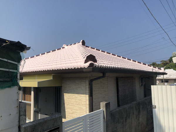 セメント瓦屋根防水塗装工事後の沖縄県那覇市M邸
